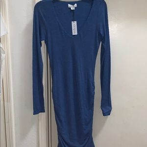 NWT Velvet Graham & Spencer Blue Ruched Dress S